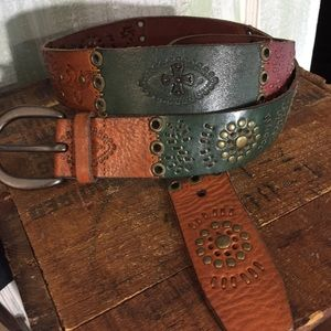 Fossil multi color leather belt women L